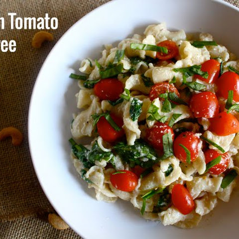 Homemade Cashew Cheese AND Spinach Tomato Dairy-Free Alfredo Sauce