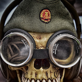 Happy George by Marco Bertamé - Artistic Objects Other Objects ( skull, green, cap, goggles, tewth )