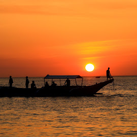 anchoring sunset by Michelle Gardiola - Uncategorized All Uncategorized ( beauty of nature, silhouette, sunset, boat, anchor )