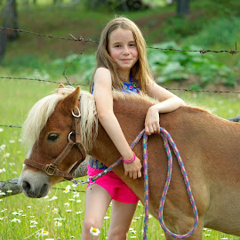 Lean on me by Giselle Pierce - Babies & Children Children Candids ( little girl, grass, horse, children, kid, child, miniature horse, field, fence, girl, friends, summer, gelding, flowers )