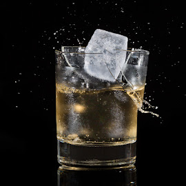 Oops!  by Ellen Yeates - Food & Drink Alcohol & Drinks ( studio, austin, ellen yeates, whiskey, splash, broken glass, drop, whiskey alcohol, high speed, not purose, break, alcohol, ice, drink, glass )