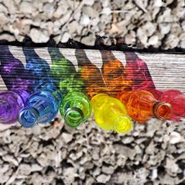 Lined up by Melissa Davis - Artistic Objects Glass ( train tracks, railroad tracks, bottle tracks, bottle art, colored bottles )