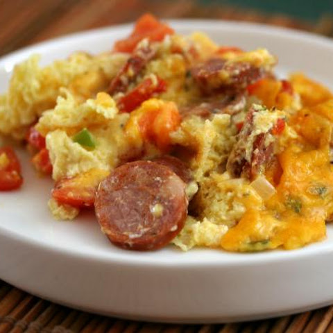 Spicy Breakfast Casserole With Andouille Sausage