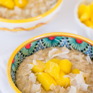 Creamy Coconut Steel Cut Oats + Quinoa with Mango