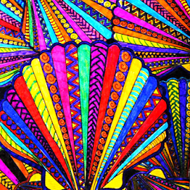 FanFare by Amada Gonzalez - Abstract Patterns ( abstract, fans, art, rainbow, digital )