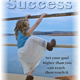 Success by Kathy Suttles - Typography Captioned Photos ( cowgirl, climber, success )