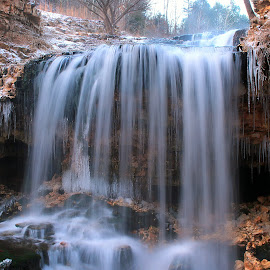 FRIGID FALLS by Dana Johnson - Landscapes Waterscapes ( frigid, waterfalls, waterscape, ice, cascade, falls, landscape, .winter )