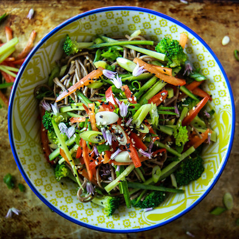 Buckwheat Soy and Sesame Noodle Bowl with Crunchy Vegetables