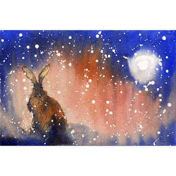 Moon hare art print from a watercolour painting