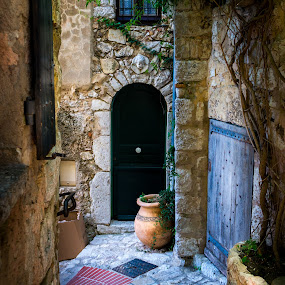 Pot in the Ally by Ed & Cindy Esposito - City,  Street & Park  Neighborhoods ( ally, door, walkway, steps, french riviera, pot )