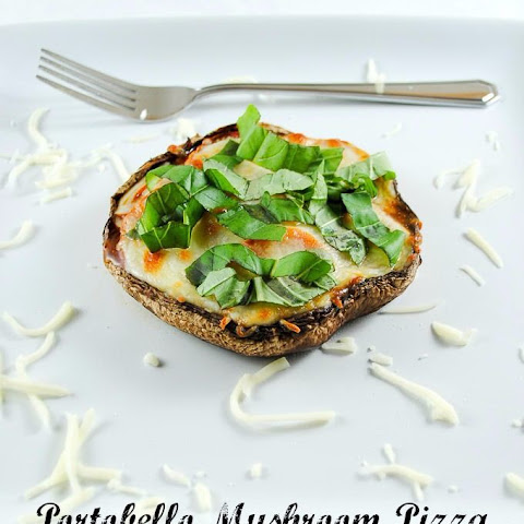 Slender Portobello Mushroom Pizzas with Tomatoes and Basil