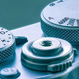 Control by Darrell Evans - Artistic Objects Technology Objects ( macro, technology, metal, button, shutter release, camera, silver, dials, x100t, shutter speed )