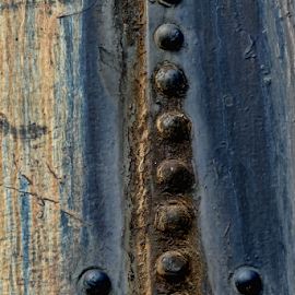 Train Detail by Gwen Paton - Abstract Patterns ( abstract, metal, gray, blues, train detail,  )