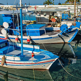 Fishing boats  by Ioannis Alexander - Transportation Boats ( blue, reflections, boat, fishing boat,  )