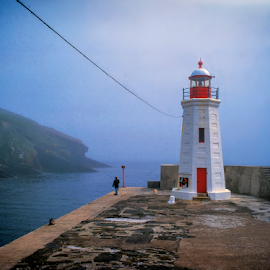 Lybster Harbour Light by Annette Flottwell - Buildings & Architecture Public & Historical ( harbour, lighthouse, lybster, lighthouse fishing, pentax 67, fog, scotland,  )