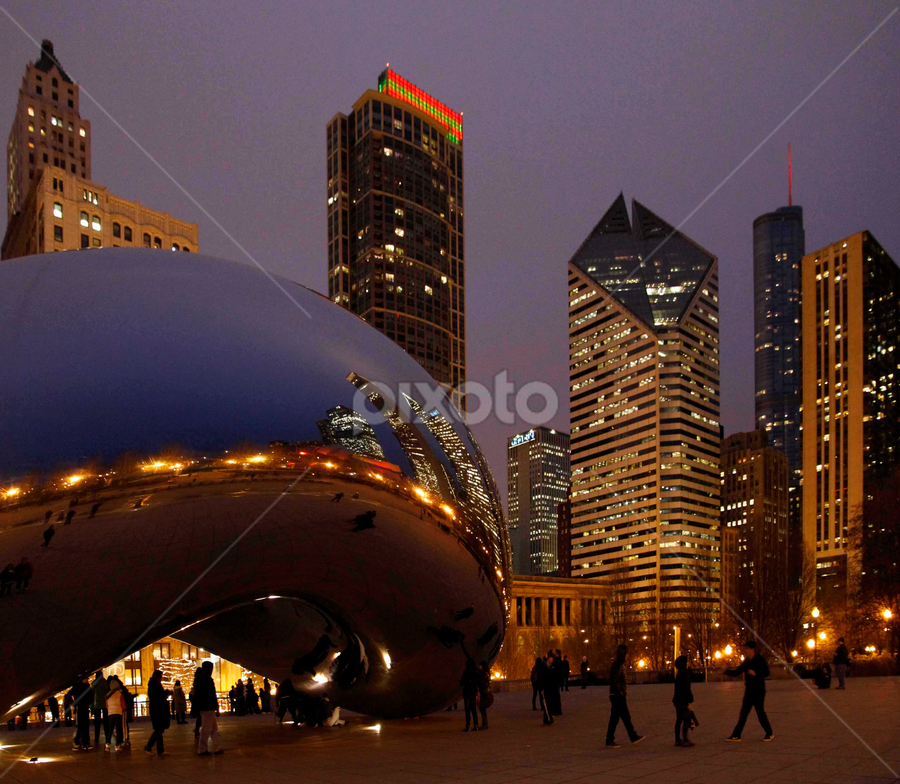 Cityscape at night by Gerard Pascazio - Buildings & Architecture Statues & Monuments ( reflection, north east view, night, cloud gate, cityscape, chicago night )