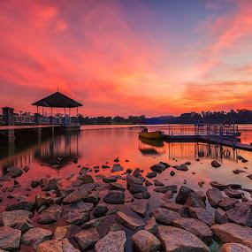 Vivid Sunset by Lb Chong Jacobs - Landscapes Sunsets & Sunrises
