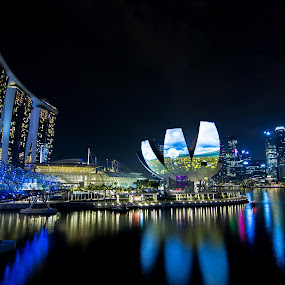 NIGHTWALK by Frank Photography - City,  Street & Park  Skylines ( holiday, bay, asia, night, hotel, marina, bridge, singapore, pwcskylines, mood factory, color, lighting, moods, colorful, light, bulbs, mood-lites )