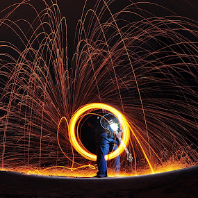 Gibson on fire by Mohammad Fairuz - Digital Art People ( gibson, fire ball, guitar, slow shutter )