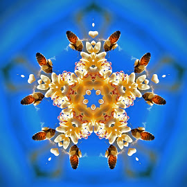 Honey bees Palms flower by Marvin Hurlston - Illustration Flowers & Nature ( palms flower, pollen, sweet nectar, nectar, pollen baskers, honeybees )