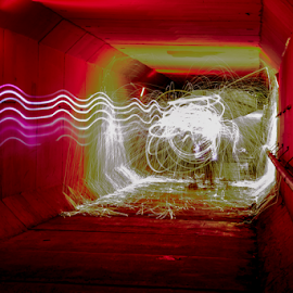 Lights In The Tunnel by Tina Hailey - Abstract Light Painting ( abstract, light painting, spinning, tina's captured moments, fire, tunnel )