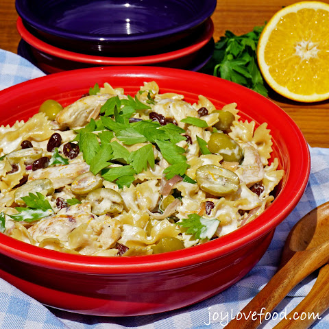 Creamy Chicken Pasta Salad with Green Olives and Raisins