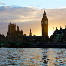 Palace of Westminster by Garry Warren - Buildings & Architecture Public & Historical ( parliament, thames, sunset, westminster, big ben, river, britain )