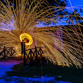 Sparks At Blue Hour by Adrian Choo - Abstract Fire & Fireworks ( dawn, steel wool, blue hour, spin, sparks, fire )