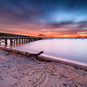 true blue by Edward Kreis - Landscapes Beaches ( water, clouds, sand, blue hour, woodbridge, beach, tranquil, driftwood, dawn, leesylvania, virginia, long exposure, sunrise, potomac river )