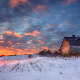 Winter Barn by Ken Smith - Buildings & Architecture Decaying & Abandoned ( barn, sunset, nebraska )