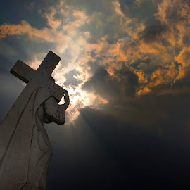 The Cross by Carl Chalupa - Buildings & Architecture Statues & Monuments ( sunset, jesus, cemetery, mount hope )