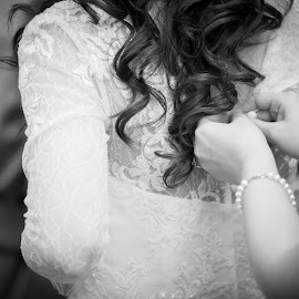 Buttoning the Dress by Sarah Scully - Wedding Getting Ready ( wedding photography, black and white, wedding, getting ready, wedding dress, bride )