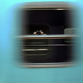 Self portrait on moving train  by JP Beukes - People Portraits of Men ( movement, moving train, window reflection, self portrait, blur )