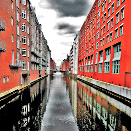 Hamburg Reflection by Nick Remick - City,  Street & Park  Neighborhoods ( water, reflection, red, buildings, reflections, canal )