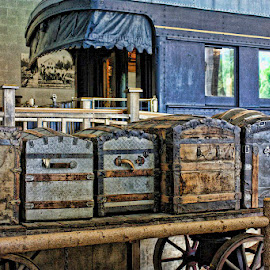 Travel Trunks by Ruth Sano - Artistic Objects Antiques ( wagon, trunks, travel, photography, antiques )