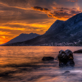 Sunset Rock by Bojan Bilas - Landscapes Sunsets & Sunrises ( adriatic, waterscape, sunset, seascape )