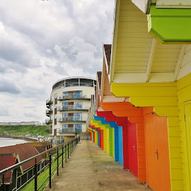 brightly coloured beach huts by Eloise Rawling - Buildings & Architecture Other Exteriors ( scarborough, coloured, bright, beach huts, north bay, beach )