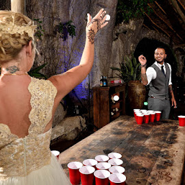 Beer Pong Bride by Andrew Morgan - Wedding Bride & Groom ( zanzibar, beer, wedding, beerpong, pingpong, bride, groom )