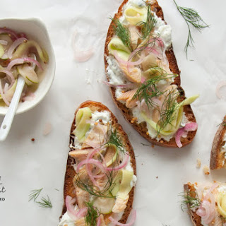 Smoked Trout Toast with Marinated Cucumbers