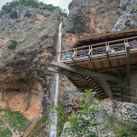 The Rinka waterfall by Dubravka Krickic - Buildings & Architecture Other Exteriors ( nature, logar valley, slovenia, waterfall, viewpoint, coffee shop )