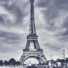 Eiffel Tower in daytime by Nupur Agrawal - Buildings & Architecture Statues & Monuments ( europe, hdr, black and white, beautiful, architecture, travel, scenic, landscape, monuments, paris, eiffel tower, tower, daytime, peace, france, travel photography,  )