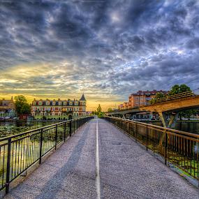 Bridges by Manu Heiskanen - Uncategorized All Uncategorized ( mirror, train, hous, bridge, morning, wate )