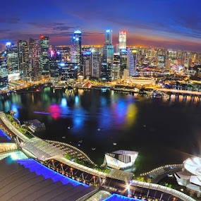 Marina Bay in the night by Chatchai Lakamankong - City,  Street & Park  Vistas