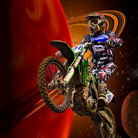 by Paul Scullion - Digital Art Abstract ( ride, bike, motoecross, paulscullionphotography, rings, saturn, photography )