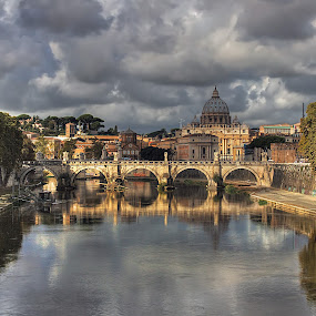 The river Tiber by Peter Kennett - City,  Street & Park  Historic Districts ( reflection, hdr, rome, st. peters, bridge, basilica, tiber, river, #GARYFONGDRAMATICLIGHT, #WTFBOBDAVIS,  )