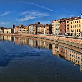 Homes on Lungarno in Pisa by Gianluca Presto - Buildings & Architecture Homes ( houses, water reflection, tuscany, hdr, historic district, travel, historic, city, sky, reflectionùwater, pisa, historical, homes, italy, travel locations, river )