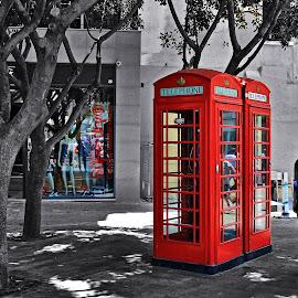 Red by Roar Randeberg - City,  Street & Park  Street Scenes ( phone, phoneboot, red, girbraltar, people, city )
