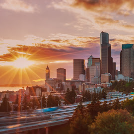 Seattle by Sunset by Andrew Conley - City,  Street & Park  Skylines ( washington, skyline, dr. rizal park, hdr, seattle, summer, light trails, night, beacon hill )