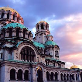 by Jimmy Armanidis - Buildings & Architecture Places of Worship ( church, colourful sky, alexander nevski, sofia, golden, bulgaria )