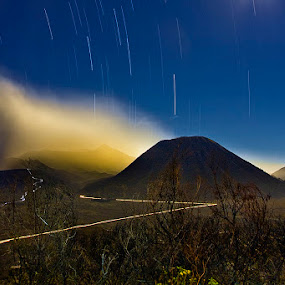 startrail over the mountain by Eko Sumartopo - Landscapes Mountains & Hills